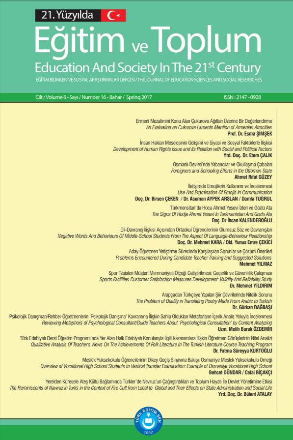 21. Yüzyılda Eğitim Ve Toplum Eğitim Bilimleri Ve Sosyal Araştırmalar Dergisi
