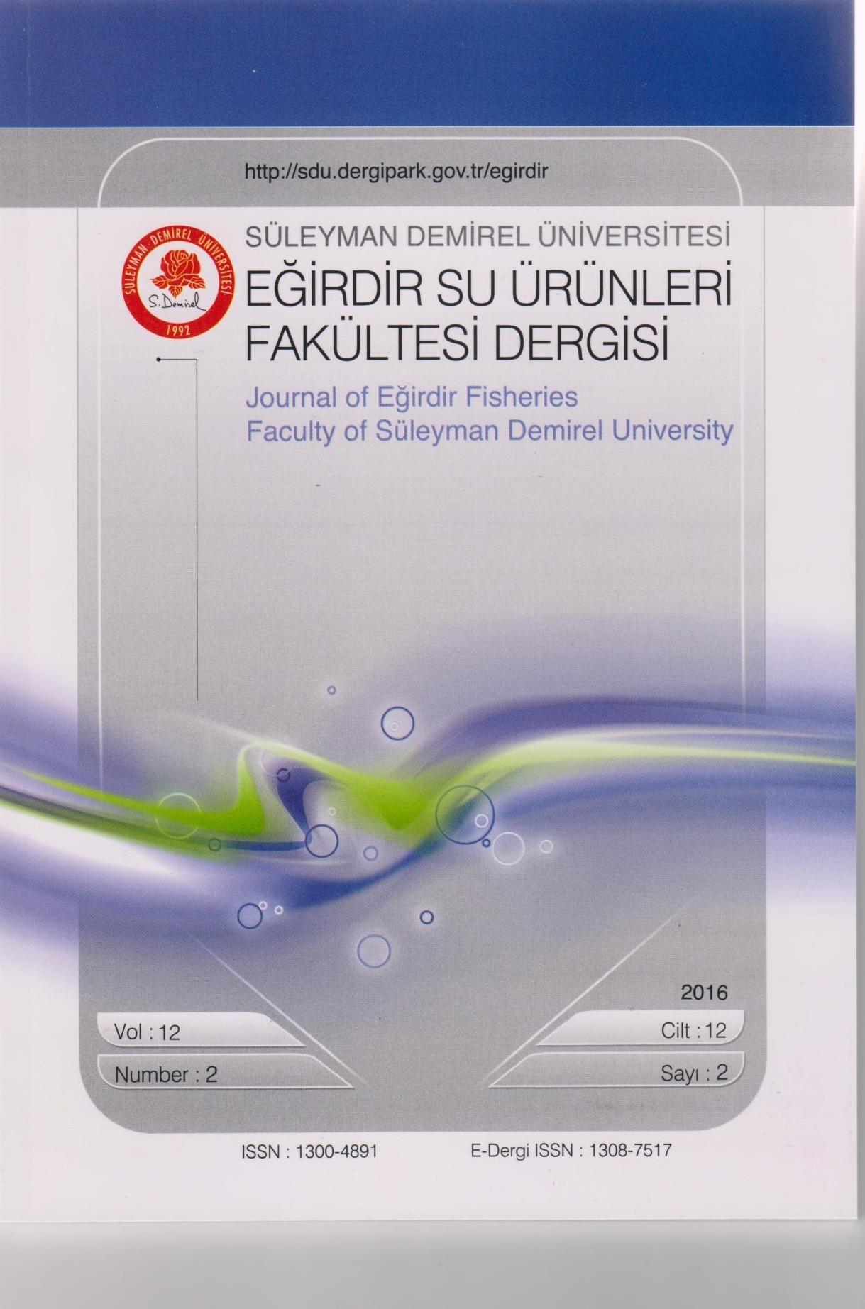 Süleyman Demirel Üniversitesi Eğirdir Su Ürünleri Fakültesi Dergisi