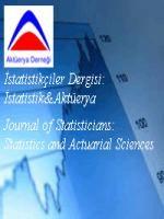 İstatistikçiler Dergisi:İstatistik ve Aktüerya